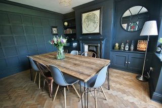One for the interior lovers ..... Coming to market next week this semi detached property in Boughton features a dark and dramatic dining room with parquet floor, wall panelling and working fire place #property #design #interiordesign #boughton #chester #estateagent #home #housesales
